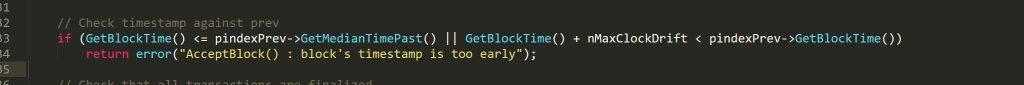 Checkblock()中校验时间戳的代码