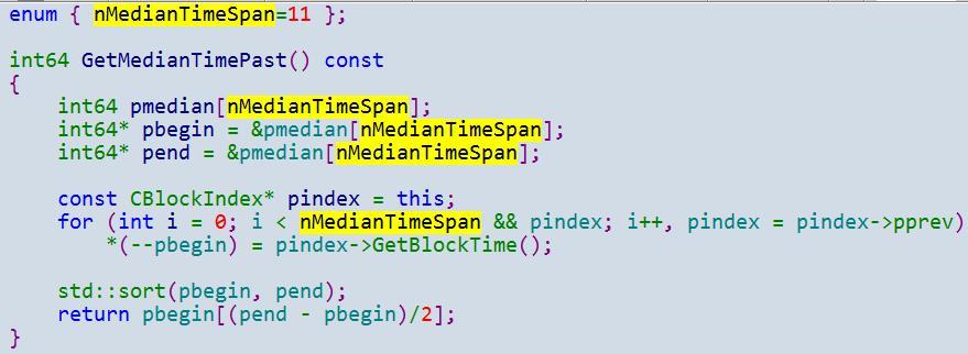 GetMedianTimePast()的实现